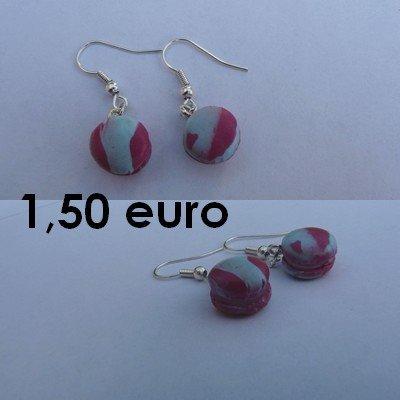 Boucles d'oreilles macaron. bleu/rose bo-macaron-br
